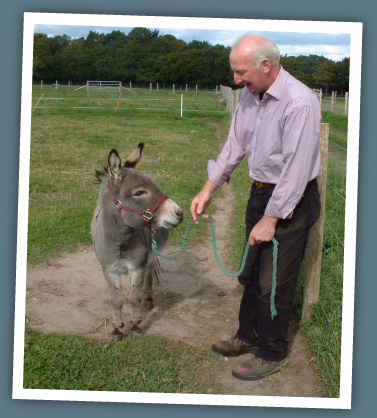 Mick leading Reg the miniature donkey
